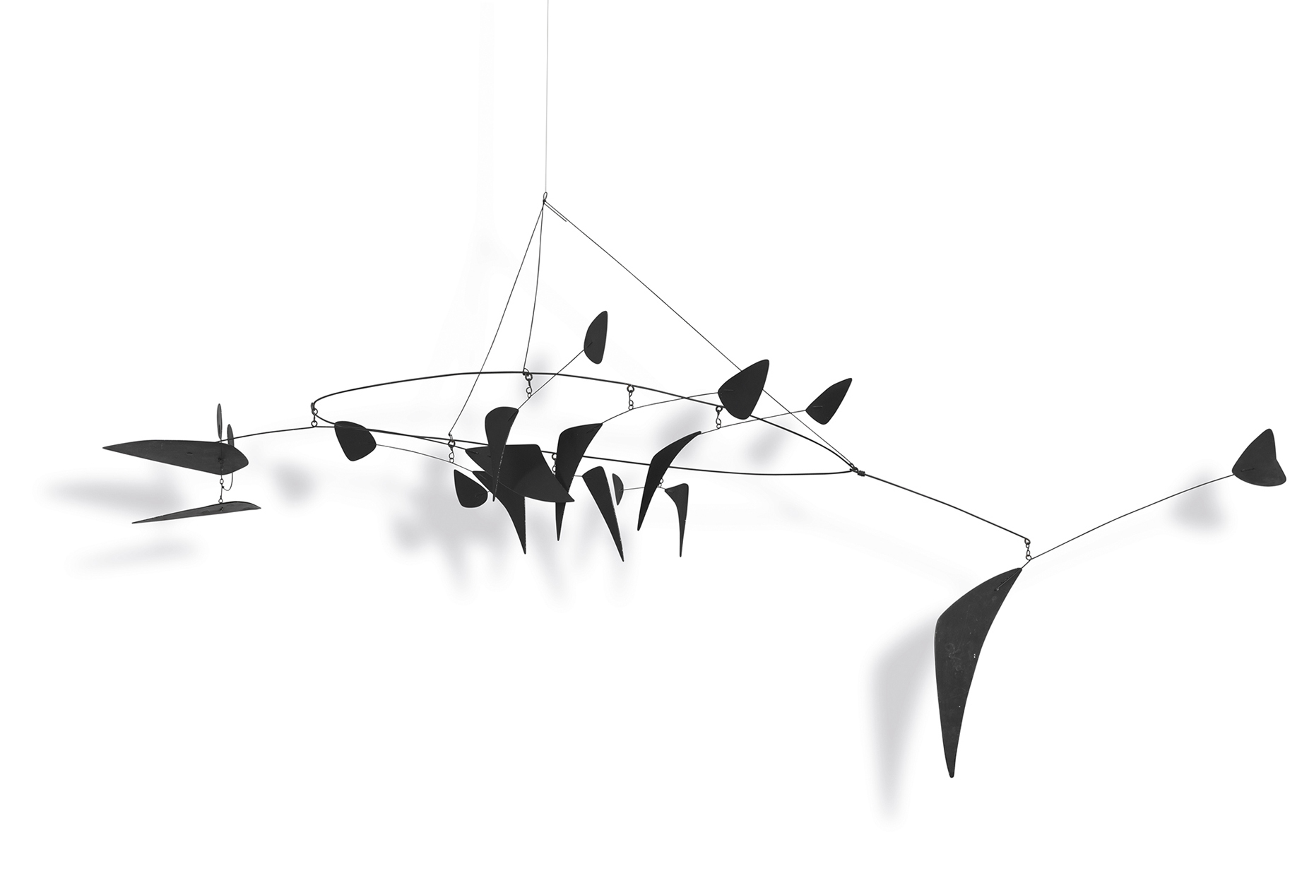 A fish mobile created by Alexander Calder. Movement with fishing