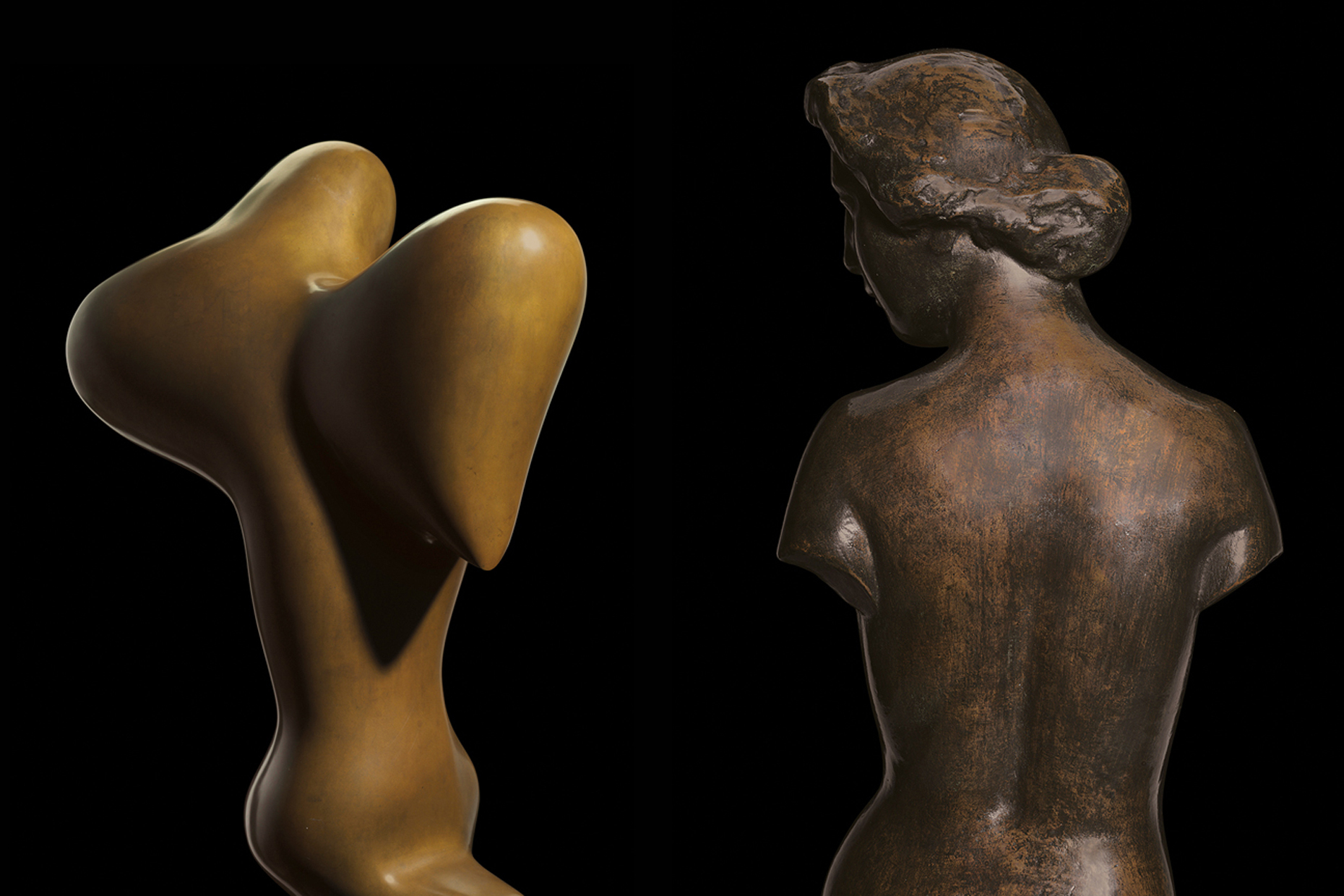 Two beautiful bronze statues museum artwork photography