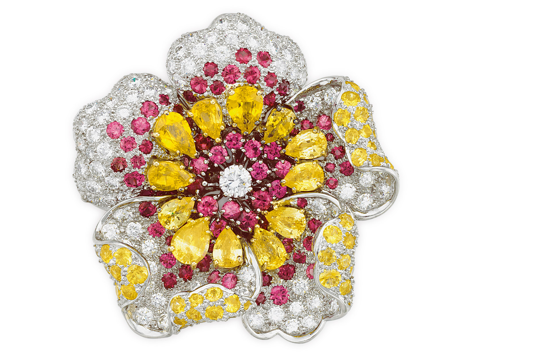 A fancy jewelry  Brooch with pink yellow and white diamonds.