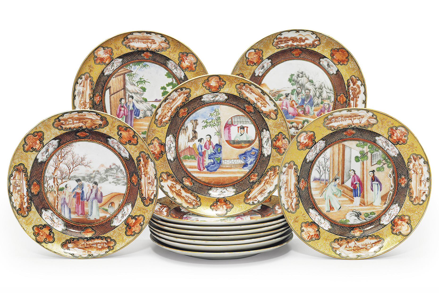 A collection of Chinese decorated porcelain plates