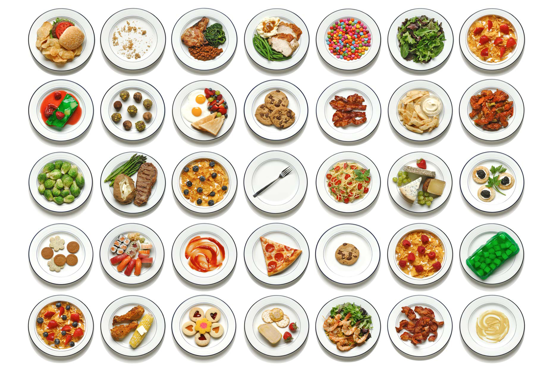 35 different white plates with different food items served. Dinner lunch breakfast healthy unhealthy colorful and a variety of choices to eat