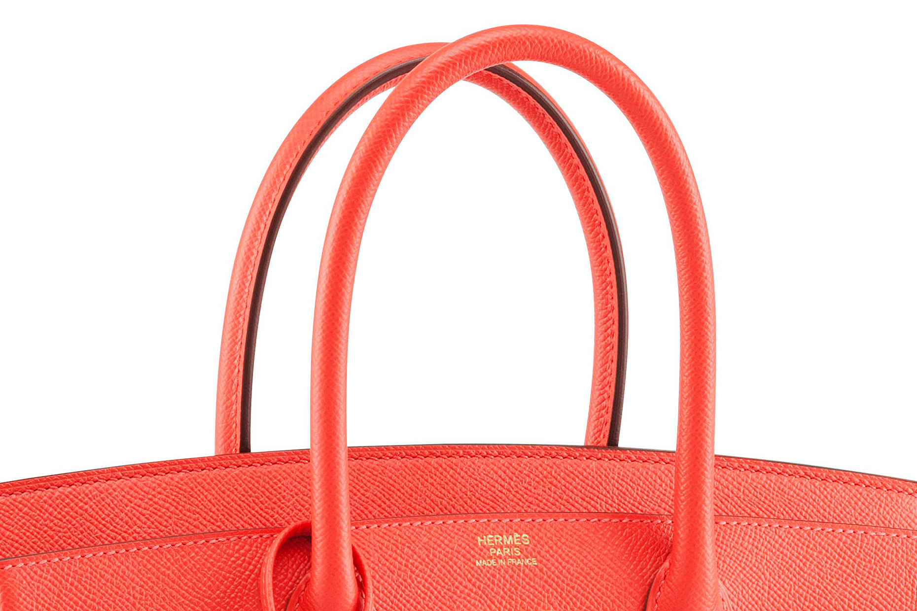Top of red Hermes hand bag