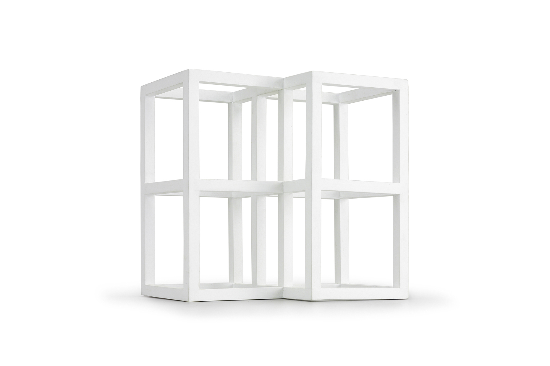 A modern contemporary sculpture of white furniture. Artwork in 3 dimensions with allusions of dimensions